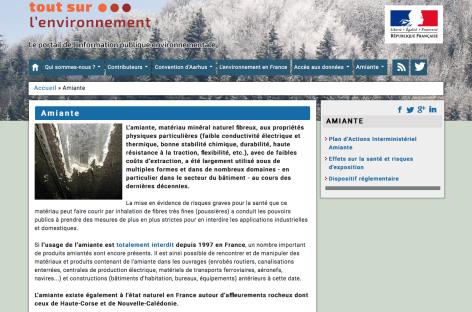 Le site du ministère de l'Écologie se dote d'une rubrique amiante
